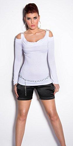 Sexy langarm Shirt mit )(-Schnalle + Trägern Koucla by In-Stylefashion SKU 0000CC99-N01 Weiß