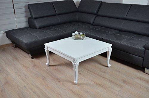 Couchtisch Hochglanz weiß Barock Wohnzimmer Lack Tisch Sofatisch Beistelltisch 80 x 80 cm (Weißer Lack Tisch)