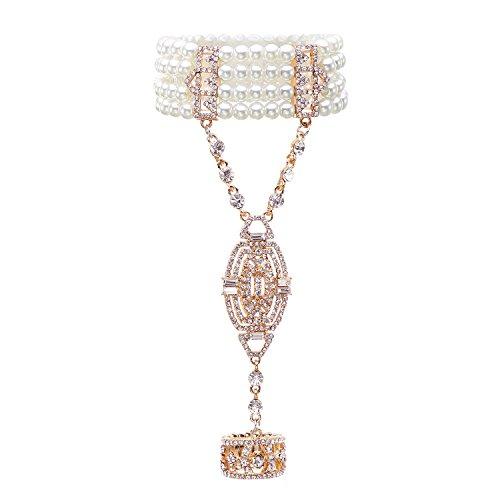 Metme 1920er Jahre Great Gatsby Armband Strass verstellbaren Ring Set Kristalle Nachahmungen von ()