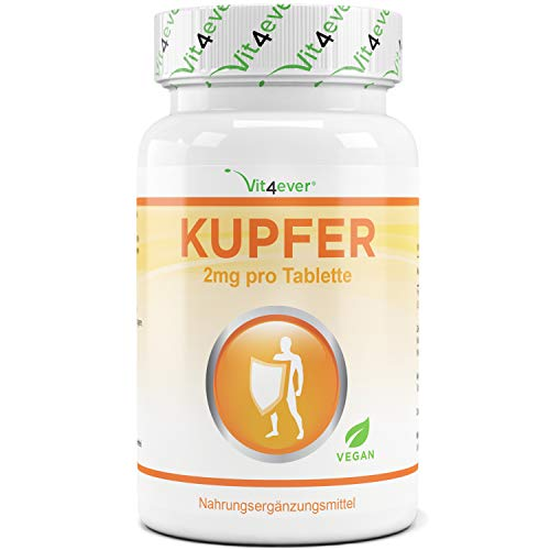 Kupfer - 2 mg elementarem Kupfer pro Tablette - 365 Tabletten - Vegan - Laborgeprüft - Hohe Bioverfügbarkeit - Kupfergluconat - Vit4ever