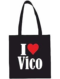 Sac à Bandoulière I Love Vico Shopping Bag Sac d'école Sac de Sport 38x 42cm en Noir ou Blanc.. Le cadeau parfait pour votre amoureux