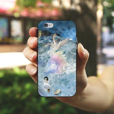Apple iPhone 6 Housse Étui Silicone Coque Protection Cygne Collage Art Housse en silicone noir / blanc
