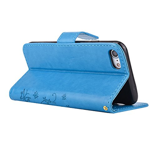 Custodia iPhone 7, iPhone 7 Flip Case Leather, SainCat Custodia in Pelle Flip Cover per iPhone 7, Custodia Bling Glitter Diamante Ultra Sottile Anti-Scratch Book Style Custodia Morbida Cover Protettiv Blu #2