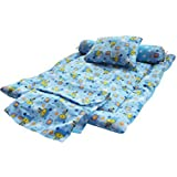 Safe N Cute SPECIAL ITEM... ON SALE PRICE! Baby Full Sleeping Set With Sheet (Sky Blue) - Trusted Brand High Quality / For Child Whose Age Is B/w 0 - 30 Months Or 2.5 Years /2 Round Bolster Pillows , 1 Super Soft Sleeping Base , 1 Sheet , 1 Rectangular Pi