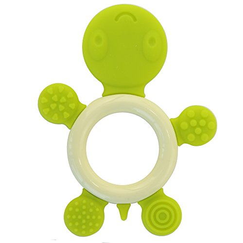 Biubee Baby Ring Teether - Food Grade Silicone Infant Teething Toy Green Tortoise