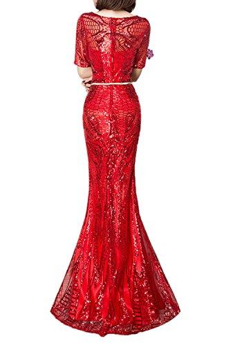 Gorgeous Bride Beliebt Paillette Halb Ärmel Meerjungfrau Lang Prom Partykleider 2017 Damen Festlich Abendkleider Lang Cocktailkleider Ballkleider Rot