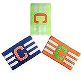 Adesugata Fußball Captain Armband,Fußball Elastic Armband, Klettverschluss für verstellbare Größe, geeignet für mehrere Sportarten wie Fußball & Rugby (3 Stück)