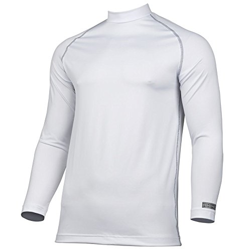 Rhino Base Layer Top Adult - Unisex Long Sleeve Sports Compression Body Fit Top White Small/Medium