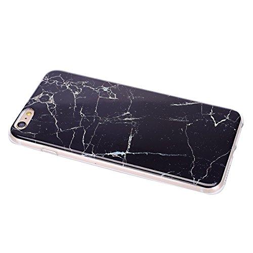 iPhone 6S Plus Hülle,iPhone 6 Plus Hülle,iPhone 6S Plus/6 Plus Silikon Hülle Tasche Handyhülle,SainCat Flamingos Flamingos Muster Ultra dünne Silikon Hülle Schutzhülle Durchsichtig Hadytasche Stoßfest Schwarzer Marmor