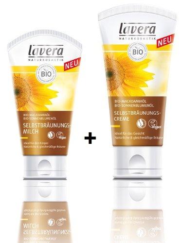 Sommer Haut Feuchtigkeitspflege (Lavera Selbstbräunungsmilch Körper 150 ml + Selbstbräunungscreme Gesicht 50 ml für natürliche gleichmäßige Bräune)