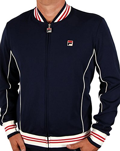 Fila Vintage Uomo Baranci Logo Zip Jacket pista, Blu, Medium