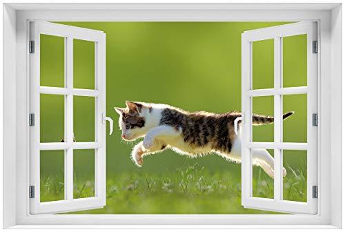 Wallario Acrylglasbild mit Fenster-Illusion: Motiv Süße Katze fängt Schmetterling im Grünen - 60 x 90 cm mit Fensterrahmen in Premium-Qualität: Brillante Farben, freischwebende Optik