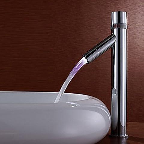 Cambio de colour del LED cuarto de baño grifo del fregadero HOSEE - contemporáneo (tamaño