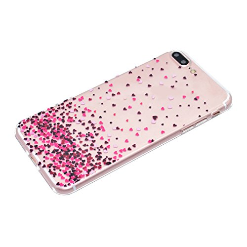 3 Pack Schutzhülle für iPhone 7 Plus, Rosa Schleife Ultra Dünn Soft TPU Silikon Hülle Backcover Case für iPhone 7 Plus Transparent Handyhülle Bunte Muster Cover Rosa Herz