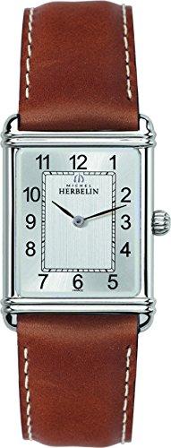 Herrenarmbanduhr von Michel Herbelin, Art Deco, analoge Quarzuhr mit grauem Ziffernblatt und braunem Lederarmband