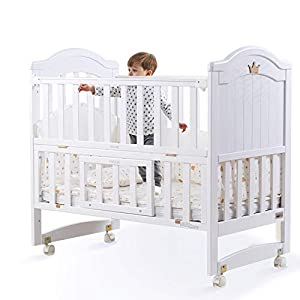 VBARV Multifunctional cradle bed-three-in-one stitching large bed solid wood crib, pine oversized children's play bed, bedroom furniture suitable for children aged 0-12   2