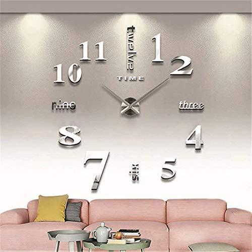Grande orologio da parete moderno 3D, nero, silente, decorazione ...