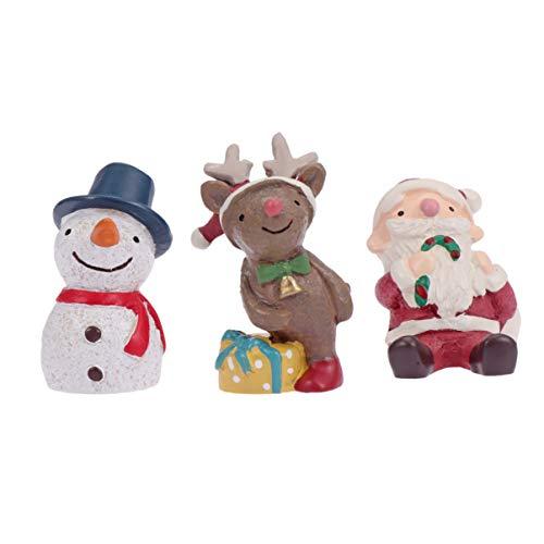 STOBOK Miniatures noël 3pcs Figurines père noël Bonhomme de Neige Renne décorations Ornements Jardin fée de Noël décorations de Maison de poupée Accessoires