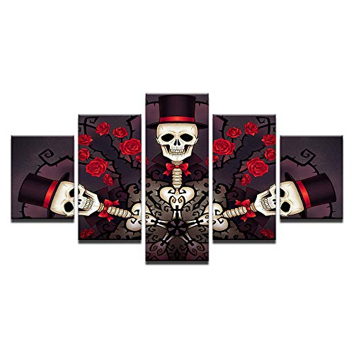 (Leinwand Wandkunst Bilder Wohnzimmer 5 Stücke Schädel Gentleman Und Rosen Malerei HD Druckt Halloween Poster Wohnkultur)
