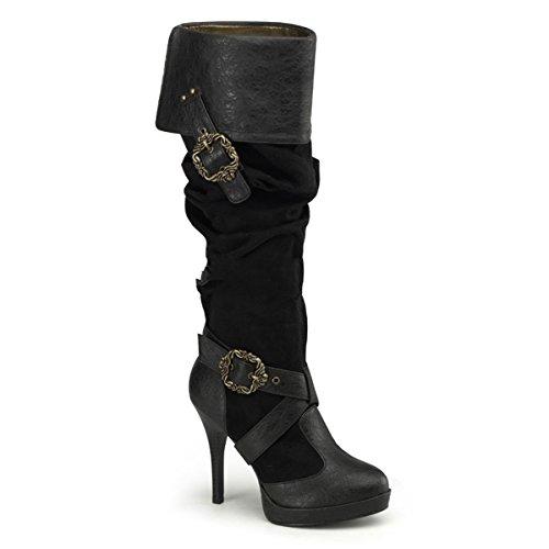 CARRIBEAN-216 - 4 1/2' Heel, 1/2' P/F Cuffed Knee Boot W/ Octopus Buckles, EU:41/42 (High Kostüm Elf)