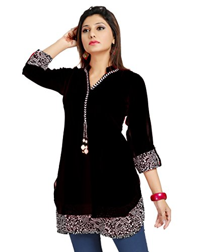 ALC Creations Women's Chiffon A-Line Short Kurti(ALC1030ZB1_Black_XL)