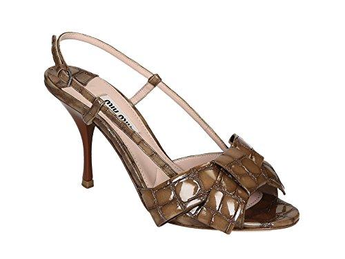 Sandali tacco alto Miu Miu donna in vernice Visone - Codice modello: 5X9835 3C3X F0314 - Taglia: 36 IT