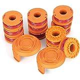 14 Pack Vervanging Trimmer Spoellijn, Edger Spoellijn voor Worx WA0010 (12 Pack Gras Trimmer Line, 2 Trimmer Cap) (12 spoelen