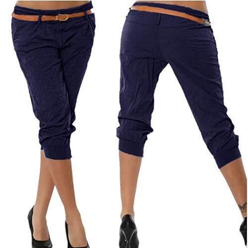 KIMODO® Damen Einfarbig elastische Taille Hose mit breites Bein, Baggy Sommer Boho Yoga Freizeithose Pants Große Größen Mid-rise Cord