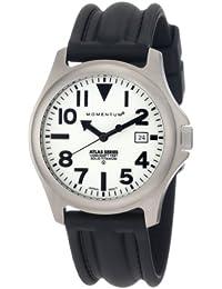 Momentum Atlas TI - Reloj analógico de caballero de cuarzo con correa de goma negra - sumergible a 100 metros