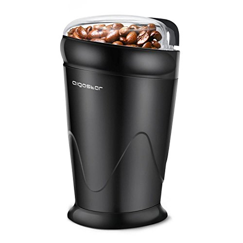 Aigostar Breath 30CFR - Elektrische Kaffeemühle, Kaffeemühle für Kaffeebohnen, Nuß und Gewürz, Schlagmesser, 60g, 150 Watt, Schwarz