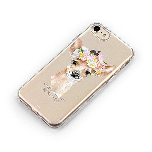 iPhone 7 / iPhone 8 Hülle AVANA® Schutzhülle flexibles Case Etui Schutz durchsichtige Tasche transparente Silikon + TPU Schale Apple Handyhülle Cover Motiv (Flamingo) Reh