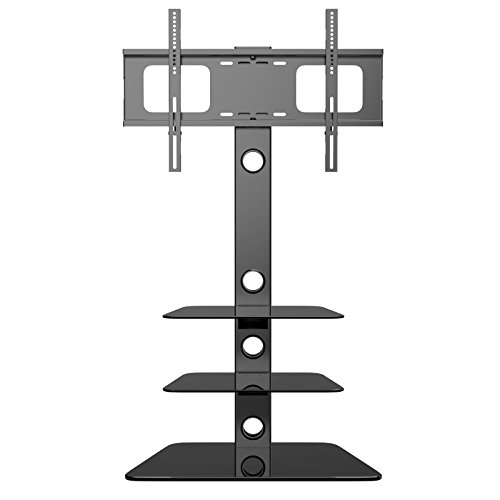 1home Cantilever Glass Stand with Swivel Bracket for 30 - 55-Inch Plasma/LCD TV