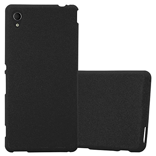 Cadorabo Hülle für Sony Xperia M4 Aqua - Hülle in Frost SCHWARZ – Handyhülle aus TPU Silikon im matten Frosted Design - Silikonhülle Schutzhülle Ultra Slim Soft Back Cover Case Bumper