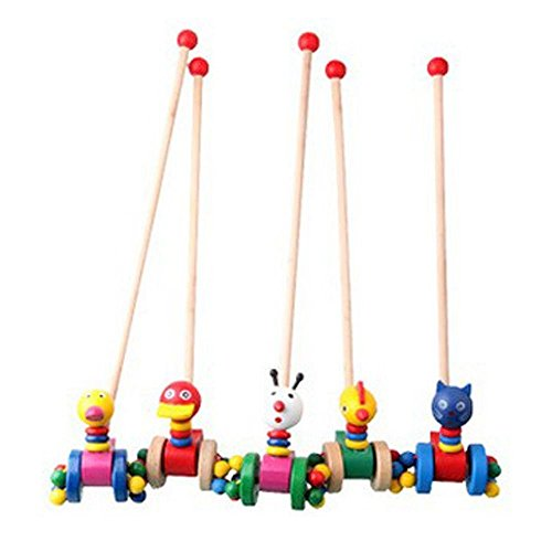 Fusine™ NEW Wooden Push & Pull Along Toy Animal with Stick. Toddler Walking & Running Animal on Wheels Pusher on Stick Toys for Kids