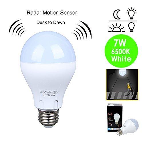 Bewegungsmelder-Glühbirne (60W, ähnlich), 7W-Glühbirne Dusk to Dawn LED-Bewegungsmelder-Leuchtmittel E26E27-Sensor, Nachtlicht, weich, Weiß, 6500K, Outdoor, Bewegungsmelder-Lampe, automatische An/Aus