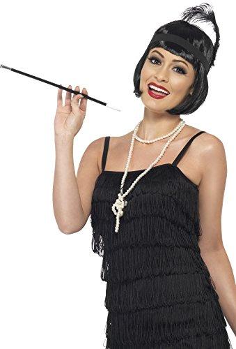 Smiffys Damen 20er Jahre Flapper Kit, Perücke, Stirnband, Halskette und Zigarettenhalter, Schwarz, One Size, - Flapper Kostüm Kit