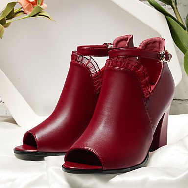 LFNLYX Donna Sandali Primavera Estate Comfort similpelle Office & Carriera Abito casual Chunky Heel altri Black Burgundy Black
