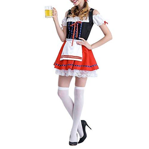 West See Damen Trachtenkleid 3 Teilig Dirndl Bluse Schürze Oktoberfest Kleider Kostüm Midi Spitze Stickrei kariert Grün Rot Rosa (Dress Bayerische Kostüme)