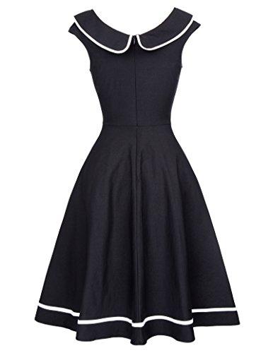 Rockabilly Kleid 50s Retro Vintage Kleid Knielang Swing kleid Kurzarm Kleid BP381-1(Schwarz)