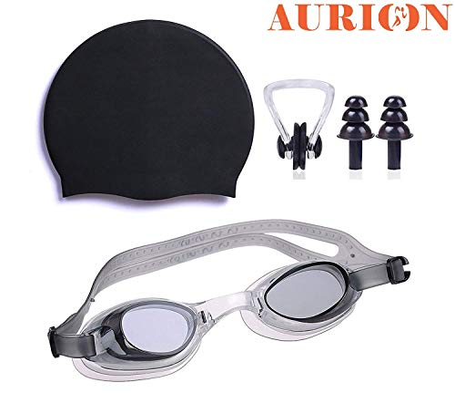 AURION Pro Swimming Cap, Goggle and Ear Nose Plugs Water Tight and Adjustable Comfortable Fit with Easy On, Easy Off Swim Cap - No Wet, Perfect for Men Women Youth and Kids