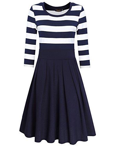 Damen Baumwolle Cocktailkleid Strickkleid Jerseykleid Sommer Kleid A Linie Swing Streifen Rundhals Kleid (XL, Blau)