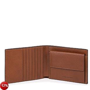 Piquadro Black Square Portamonete con 7 Alloggiamenti per Carte di Credito,  14 cm, 0.58 litri, Cuoio Tabacco