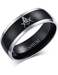 Vnox 8mm de titanio de los hombres de la banda libre de albañilería masónico anillo de bodas de Confort Confort, Negro Plata