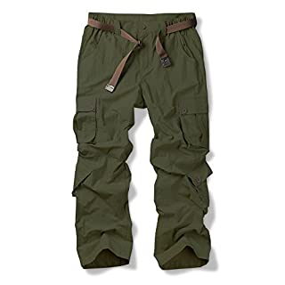Jessie Kidden Men's Cargo Regular Trouser Army Combat Work Trouser Workwear Pants with 8 Pocke #6052 Army Green-30