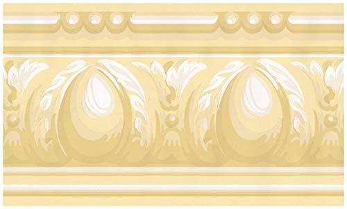 York Wand-Rand - Gelb Weiß Victorian Wallpaper Border Retro Design,Vorpastiertes Rolle 15 ft x 5,5 in. 5,5