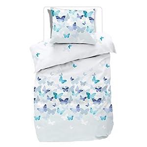 88f7e7b532 etérea Mako Satin Bettwäsche Lilu Schmetterlinge – 100% Baumwolle  Bettwäsche Set – Blau, 140×200 cm + 70×90 cm