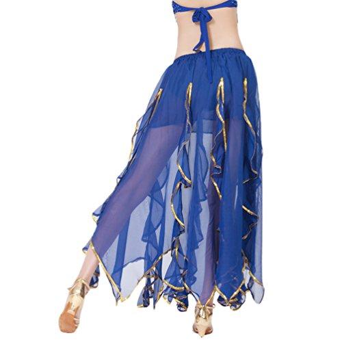 Kostüm Bauchtänzerin Saphir - YuanDian Damen Chiffon Lang Bauchtanz Rock Lotus Blätter Gold Draht Seiten Elastische Taille Professionelle Arabische Oriental Belly Dance Performance Perspektive Röcke Kostüm Saphir Blau
