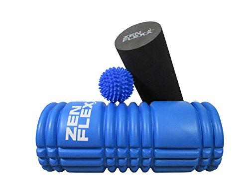 Zen Flexx Premium espuma Rumble Roller Bundle 2en 1Set Plus Bono GRATIS de Spikey masajeador, bola y bolsa de viaje. Perfecto para Yoga deportes de tejido profundo masaje muscular tensión/punto de liberación miofascial, disparador terapia de relajación Core entrenamiento de fuerza ejercicios de estabilización