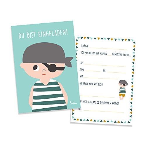 Julica Einladungskarte Kindergeburtstag   Pirat Motiv   Einladung zu Geburtstag   Jungen