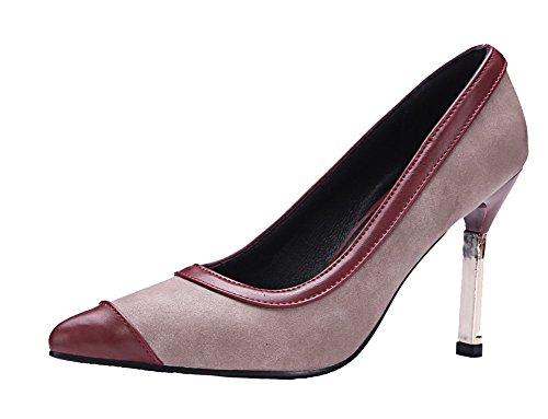 VogueZone009 Femme Tire Pointu à Talon Haut Super-Fibre Couleurs Mélangées Chaussures Légeres Rouge Vineux